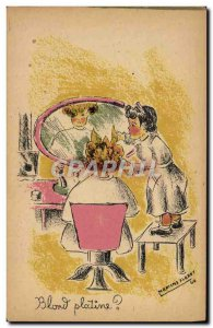 Postcard Old Hairdresser Wig Platinum Blonde Children Illustrator Martins Floret