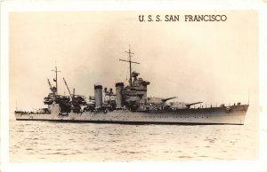 G10/ Ship RPPC Postcard c1940s U.S.S. San Francisco New Orleans Cruiser 7