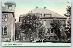 Olivia Minnesota~High School~Bell Tower~1914 Colored Sky Postcard