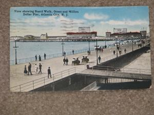 Board Walk, Ocean & Million Dollar Pier, Atlantic City, N.J., used vintage card