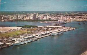 Florida Miami Dodge Island Seaport Aerial View 1970