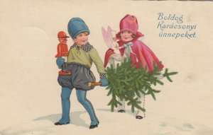 CHRISTMAS: 1923;  Children carrying tree and dolls; Boldog Karacsonyi unnepeket