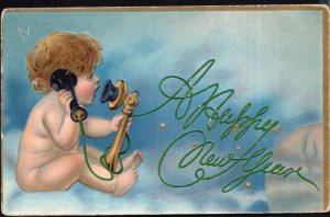 A Happy New Year with a Child on the Phone - Embossed - pm1908 - DB