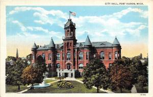 Michigan MI Postcard PORT HURON c1920 CITY HALL Building