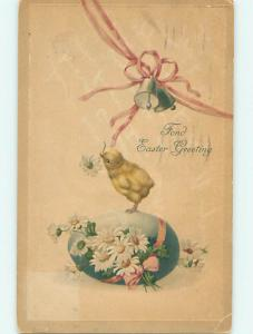 Divided-Back easter CHICK WITH FLOWER IN BEAK STANDS ON EGG r3586