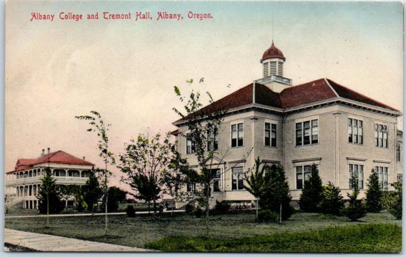 1910s Oregon Postcard ALBANY COLLEGE Campus Scene Tremont Hall HAND-COLORED