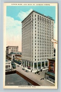 Jacksonville FL, Lynch Building And Main Street, Vintage Florida Postcard