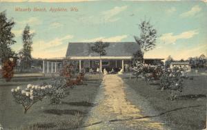 Appleton Wisconsin~Waverly Beach~Ladies & Gents Sit on Steps of Pavilion~1914 PC