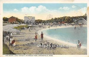 Springfield, Massachusetts, MA, USA Postcard The Beach, Lake Takadip, Riversi...