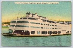 St Louis Missouri~Admiral Excursion Boat on Mississippi River~Bridge Bkgd~1940s