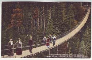 P402 JL old postcard vancouver b.c. suspension bridge, people canada