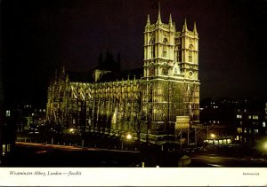 England London Westminster Abbey By Night Floodlit 1978
