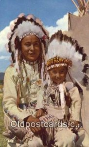 Chief & Papoose Indian Postcard, Post Card 1962