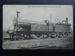 G.N.R. Great Northern Railway EXPRESS No.878 Steam Locomotive Old Postcard