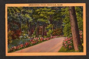 MA Greetings from FISKDALE MASS Postcard Linen PC