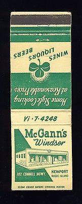 Newport, Rhode Island/RI Matchcover, McGann's Windsor Res...