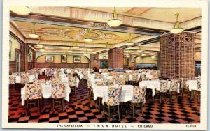 Chicago, Illinois Postcard The Cafeteria YMCA HOTEL Interior View Linen c1940s