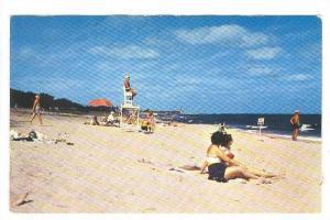 Beach with Hillsboro Lighthouse in background, Pompano Beach, Florida, PU-1960