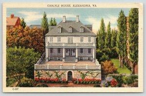 Alexandria Virginia~Carlyle House & Garden Birdseye View~1940s Postcard