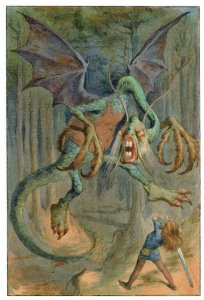 Jabberwocky Lewis Carroll of Alice In Wonderland 1911 Book Postcard