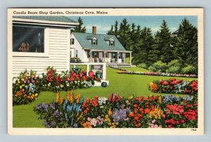Christmas Cove ME, Candle Beam Shop, Gardens, Advertising, Linen Maine Postcard