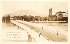 RPPC INTERNATIONAL BRIDGE El Paso, TX from Juarez, Chih., Mexico c1930s Postcard
