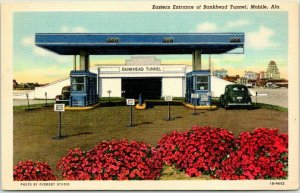 MOBILE, Alabama Postcard Eastern Entrance of Bankhead Tunnel Toll Booth Linen