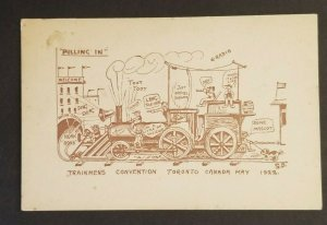 Mint Canada Comical Trainmens Convention Toronto 1922 Color Postcard
