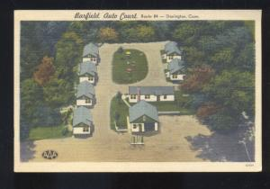 STONINGTON CONNECTICUT CT. BARFIELD AUTO COURT LINEN ADVERTISING POSTCARD