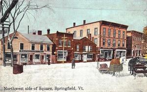 Springfield VT Winter Scene Store Fronts Horses Square Postcard