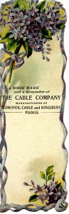 Advertising Bookmark-    The Cable Co, Pianos & Organs (6 X 2)