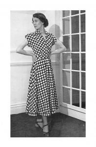 London Latest British Fashion, afternoon dress, Eric Hart 1948 Nostalgia Reprint