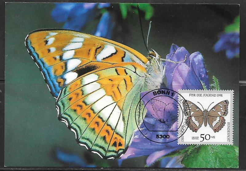 1991 Germany 50+25 Butterfly stamp maximum card