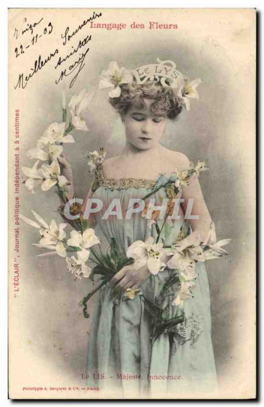 Old Postcard Fantasy Flowers language Le Lis Majesty Innocence