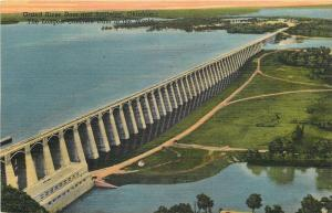 Disney-Langley Oklahoma~Grand River Dam and Spillway~1940 Postcard