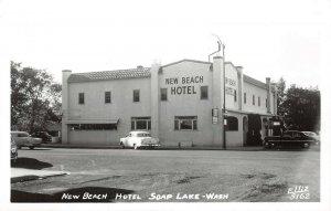 LPS51 Soap Lake Washington New Beach Hotel Postcard RPPC