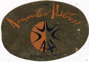 Mexico Acapulco Hilton Hotel Vintage Luggage Label sk2473