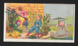 VICTORIAN TRADE CARD Three Children Playing on a Swing