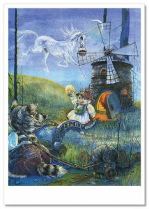 Raccoon and Duck near the Mill Bridge Unicorn NEW Russian Child Tale Postcard
