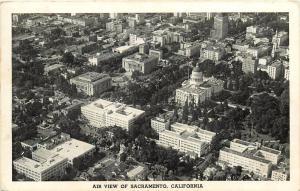 California State Capitol Sacramento California Aerial View pm 1943 Postcard