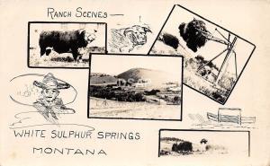 Montana Mt Real Photo RPPC Postcard c1940s WHITE SULPHER SPRINGS Ranch Cowboy 4v