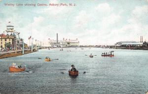 Asbury Park New Jersey~Wesley Lake Rowboats~Casino at End~Ferris Wheel~1908 PC