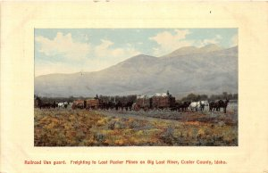 F72/ Big Lost River Custer County Idaho Postcard Horse Freight Mines