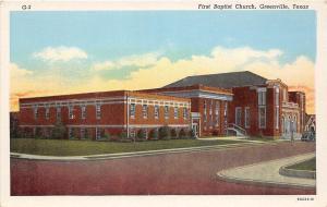 D93/ Greenville Texas Tx Postcard c1930s First Baptist Church Building