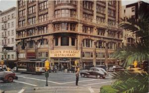 San Francisco California~Golden Pheasant Restaurant~Clock~Street Scene~50s Cars
