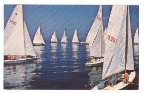 Sailboats becalmed in Sandy bay , Massachusetts , 40-60s