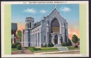 North Carolina colour First Christian Church, Asheville, N.C unused