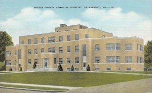 VALPARAISO, Indiana IN    PORTER COUNTY MEMORIAL HOSPITAL   ca1940's Postcard