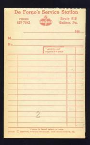 1960's De Forno's Service Invoice, American Oil, Salina, PA