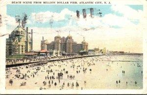 New Jersey Atlantic City Beach Scene From Million Dollar Pier 1925